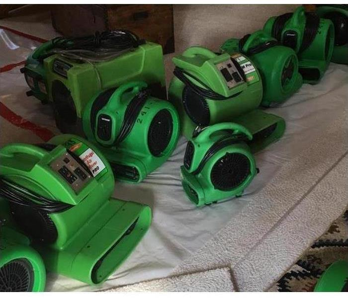 Servpro air movers and dryers