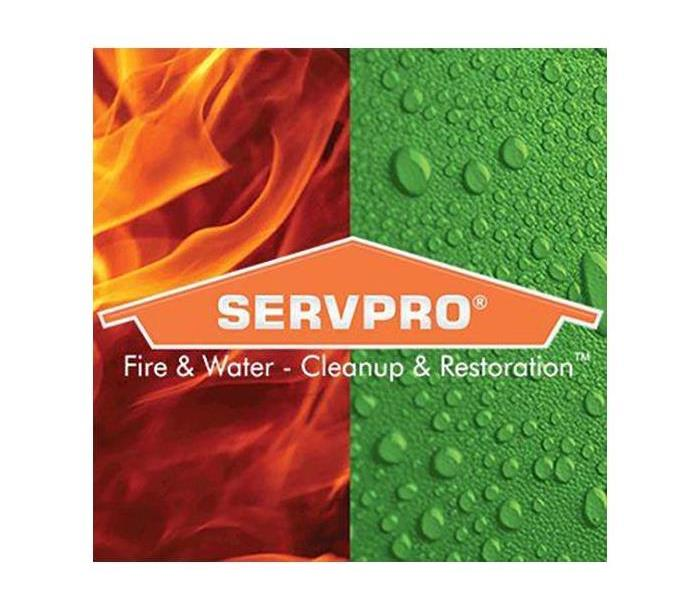 Branding poster with background split into two sections. One depicting Fire and the other Water.
